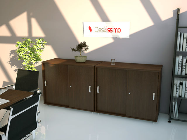 armoire basse unie portes coulissantes deskissimo usine. Black Bedroom Furniture Sets. Home Design Ideas