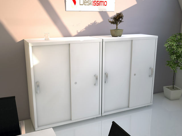 armoire basse unie portes coulissantes deskissimo h121 usine bureau. Black Bedroom Furniture Sets. Home Design Ideas