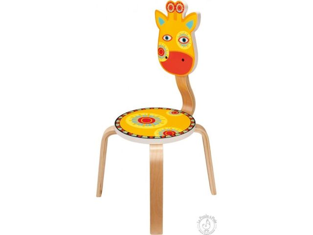chaise enfant en bois girafe la poule a pois. Black Bedroom Furniture Sets. Home Design Ideas