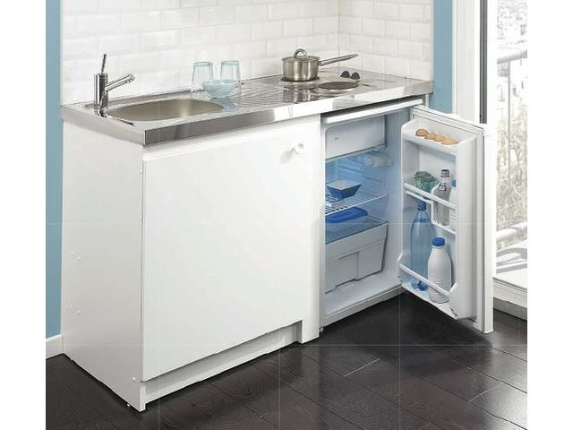 Meuble cuisinette en m lamin blanc syntonie lemarchand for Meuble melamine blanc