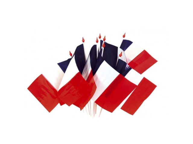 sachet de 100 mini drapeaux france plastique fillon. Black Bedroom Furniture Sets. Home Design Ideas