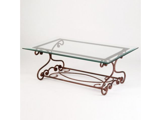Table basse en fer forg rectangulaire elodie 4 pieds for Fournisseur fer forge