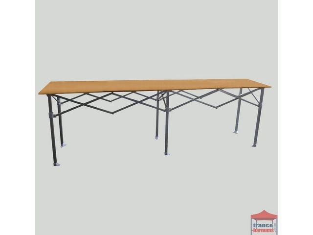 Table comptoir pliante 3m avec plateau en bois de 40cm france barnums - Table pliante de collectivite ...