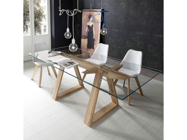 table design en verre tremp et bois massif tokyo 4 pieds. Black Bedroom Furniture Sets. Home Design Ideas