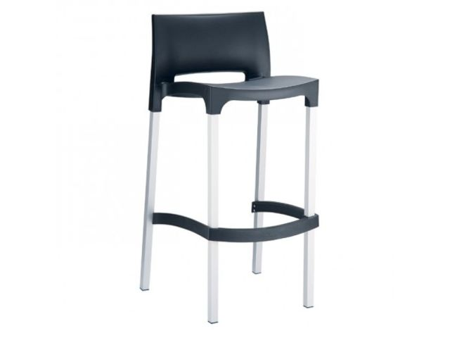 tabouret snack gio structure aluminium et assise plastique 4 pieds. Black Bedroom Furniture Sets. Home Design Ideas